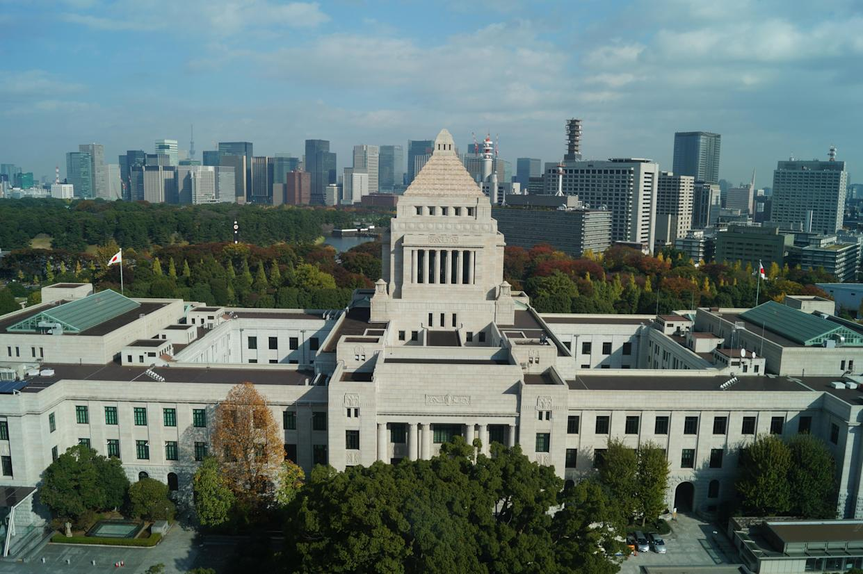 A view of the National Diet Building, which contains both houses of Japan's bicameral legislature, in Nagatacho, Tokyo. (Photo: Michael Walsh/Yahoo News)