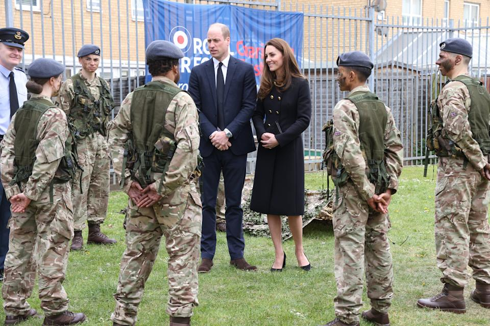 The Duke and Duchess of Cambridge talk to cadets during a visit to 282 (East Ham) Squadron, RAF Air Cadets, Cornwell VC Cadet Centre, in east London. Picture date: Wednesday April 21, 2021.