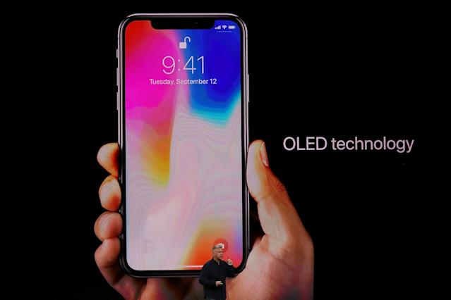 <p>The iPhone X is the first Apple device with an OLED screen, which makes for better contrast, more vibrant images and richer blacks. (Photo by Justin Sullivan/Getty Images) </p>