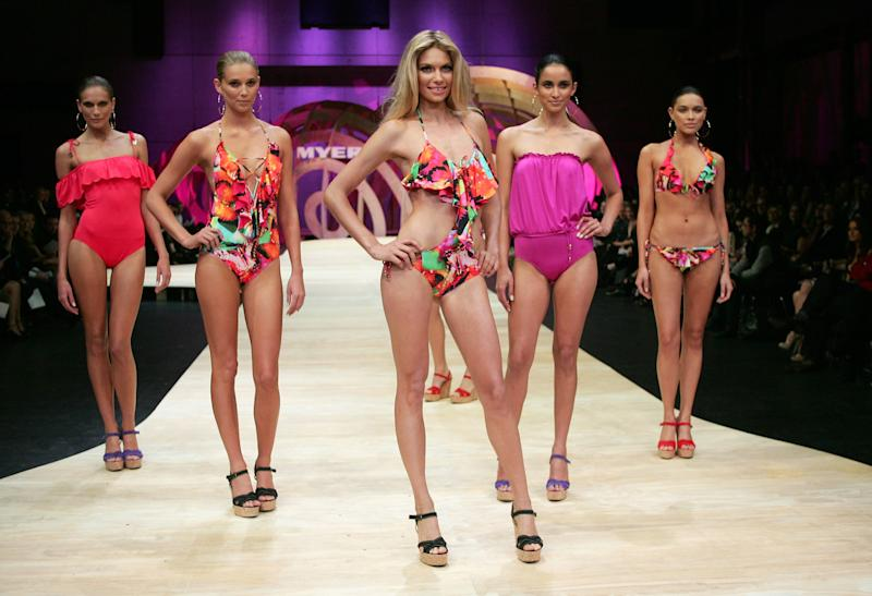 Model Jessica Hart showcases swimwear by designer Seafolly during the Myer's Spring/Summer 2010/11 Show in central Sydney on Thursday, Aug 5, 2010. (AAP Image/Sergio Dionisio)