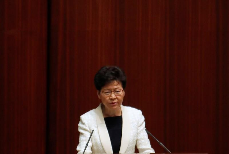 Hong Kong's Chief Executive Carrie Lam answers questions from lawmakers at the Legislative Council in Hong Kong