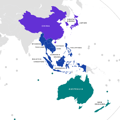 A map showing the Regional Comprehensive Economic Partnership (RECP) Members