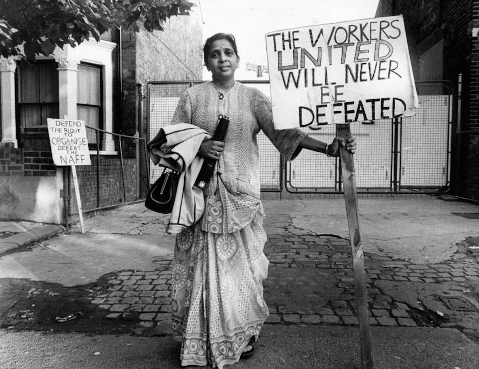 Jayaben Desai on the picket line in 1977