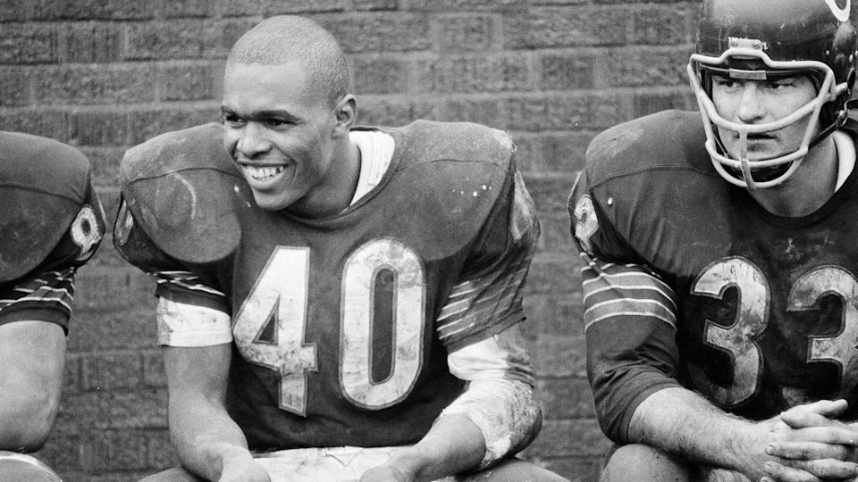 Mandatory Credit: Photo by Paul Cannon/AP/Shutterstock (6620098a)Gale Sayers Gale Sayers, Chicago Bears' sensational halfback, smiles happily after scoring six touchdowns against San Francisco 49ers as the Bears won, 61-20, in Chicago, .