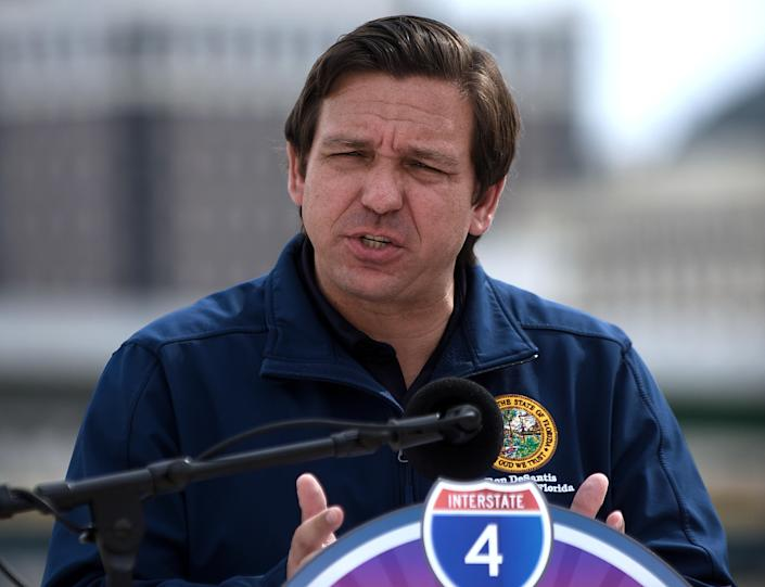 Florida Governor. Ron DeSantis speaks during a press conference at the newly completed I-4 and State Road 408 interchange. (Photo by Paul Hennessy / Echoes Wire/Barcroft Media via Getty Images)