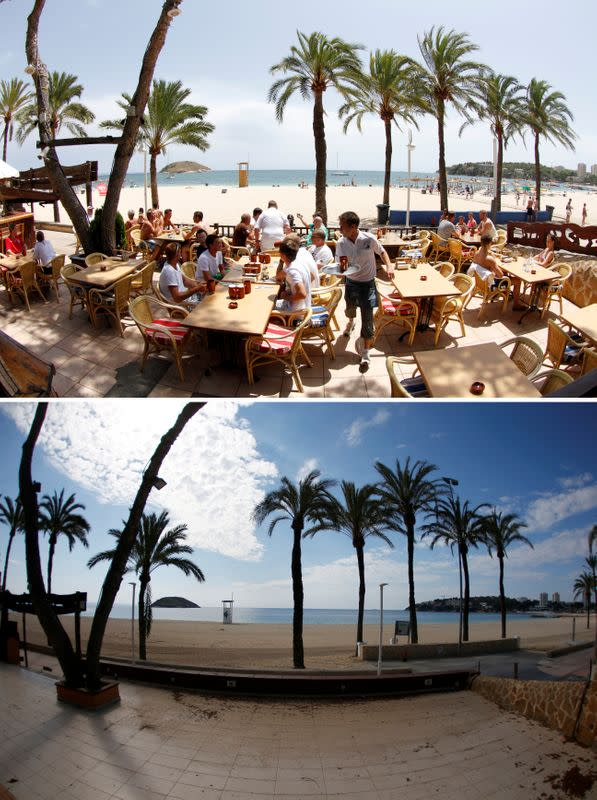 A combination photo shows tourists in a terrace at the beach of Magaluf, July 22, 2011, and the beach empty during the coronavirus disease (COVID-19) outbreak in Magaluf
