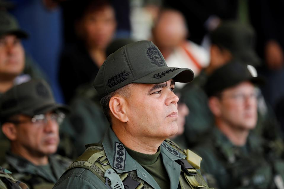 Venezuela's Defense Minister Vladimir Padrino Lopez takes part in a ceremony to kick off the distribution of security forcers and voting materials to be used in the upcoming presidential elections, at Fort Tiuna military base in Caracas, Venezuela May 15, 2018. Pictures taken on May 15, 2018. REUTERS/Carlos Jasso
