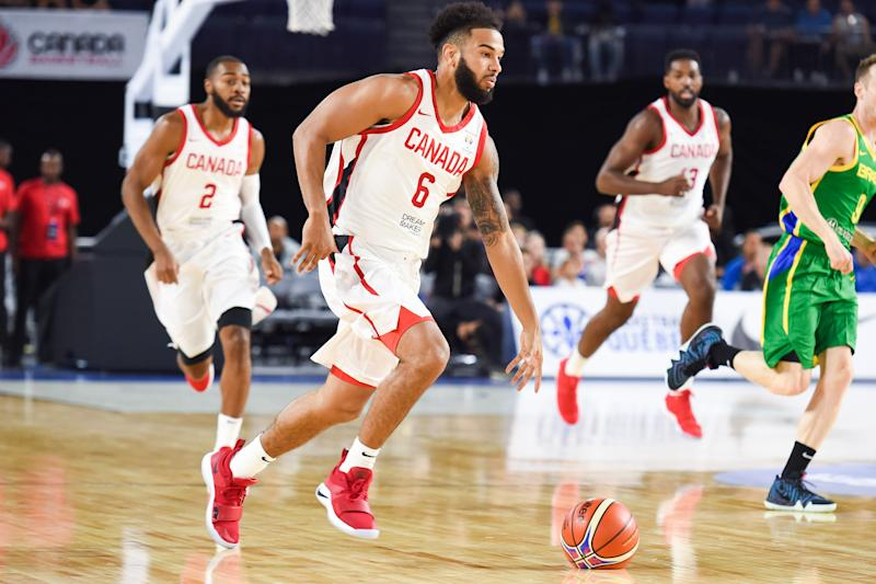 LAVAL, QC - SEPTEMBER 13: Canada point guard Corey Joseph (6) runs while dribbling the ball during the Brazil versus Canada FIBA Basketball WC Qualifier game on September 13, 2018, at Bell Place in Laval, QC (Photo by David Kirouac/Icon Sportswire via Getty Images)