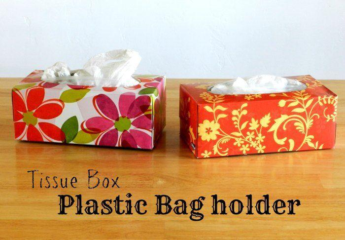 """<p>If a bloated pile of grocery store bags is taking over your cabinet space, stuff them into empty tissue boxes for a handy, compact solution.</p><p><a href=""""http://growcreative.blogspot.com/2012/11/get-organized-plastic-bag-holders.html"""" rel=""""nofollow noopener"""" target=""""_blank"""" data-ylk=""""slk:See more at Grow Creative »"""" class=""""link rapid-noclick-resp""""><em>See more at Grow Creative »</em></a> </p>"""