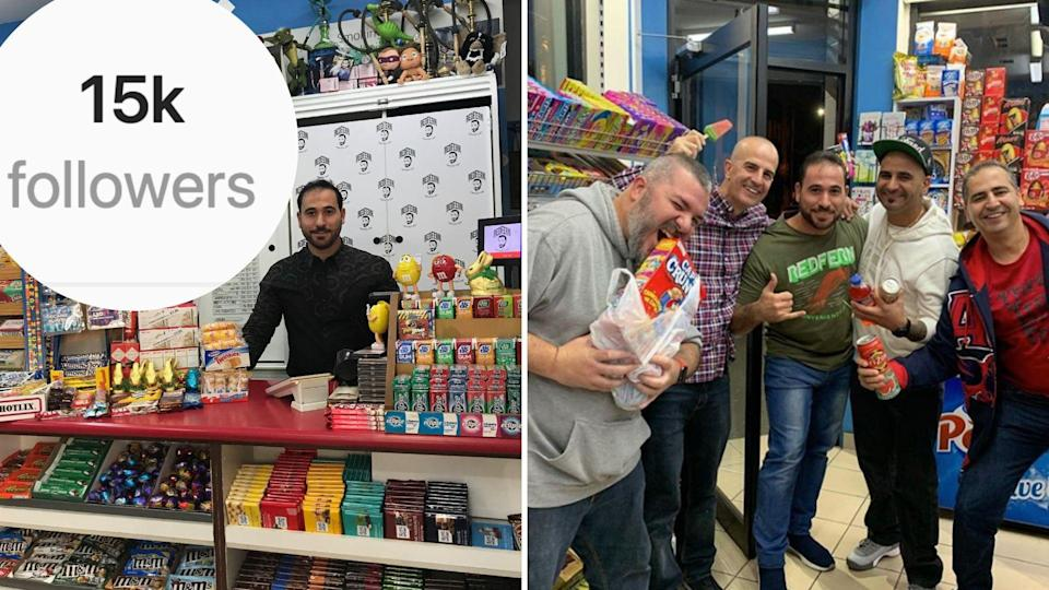 Owner of Instagram-famous Redfern Convenience Store stands behind his counter. The second image shows five excited men in Redfern Convenience Store. Images: Yahoo Finance, Instagram (redfern_convenience_store).
