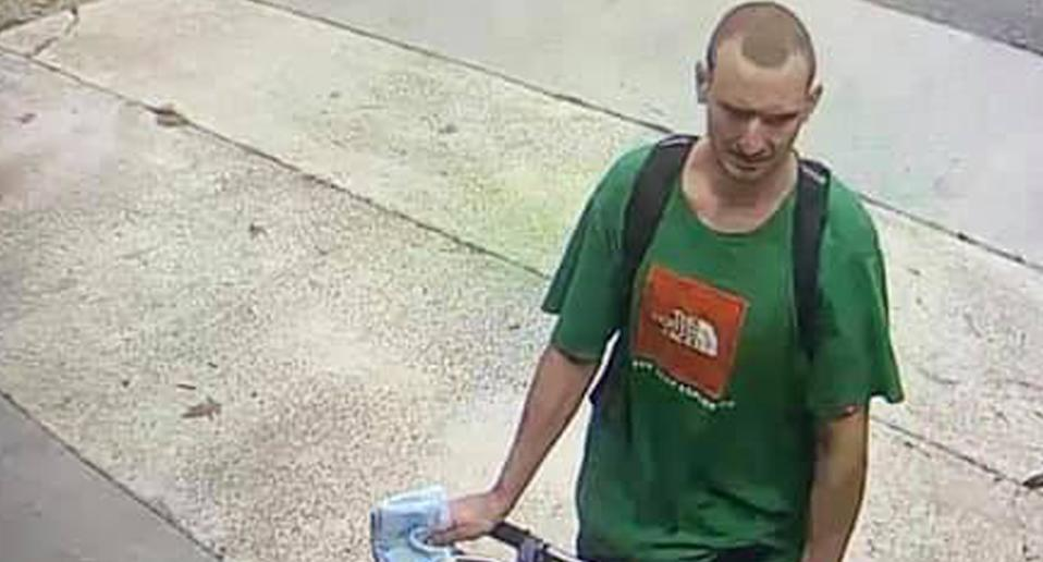 An alleged porch pirate is pictured in Goose Creek, in South Carolina.