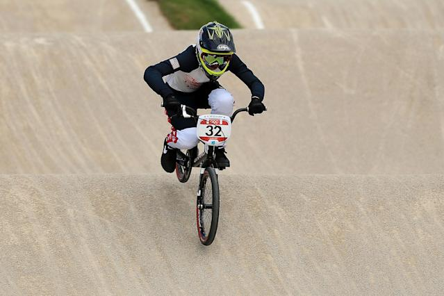 LONDON, ENGLAND - AUGUST 08: Brooke Crain of the United States competes during the Women's BMX Cycling on Day 12 of the London 2012 Olympic Games at BMX Track on August 8, 2012 in London, England. (Photo by Phil Walter/Getty Images)