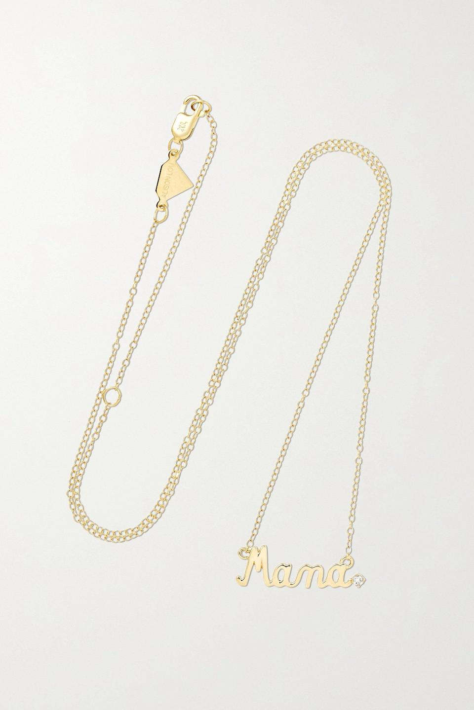 "<h2>Alison Lou ""Mama"" 14K Gold and Diamond Necklace</h2><br><br><strong>Alison Lou</strong> ""Mama"" 14-karat gold diamond necklace, $, available at <a href=""https://go.skimresources.com/?id=30283X879131&url=https%3A%2F%2Fwww.net-a-porter.com%2Fen-us%2Fshop%2Fproduct%2Falison-lou%2Fmama-14-karat-gold-diamond-necklace%2F1119067"" rel=""nofollow noopener"" target=""_blank"" data-ylk=""slk:Net-A-Porter"" class=""link rapid-noclick-resp"">Net-A-Porter</a>"