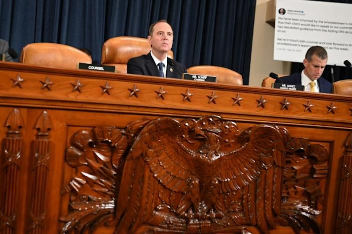 Adam Schiff presiding over a hearing of the House Intelligence Committee's impeachment investigation of President Donald Trump in November 2019 (AFP Photo/Andrew CABALLERO-REYNOLDS)
