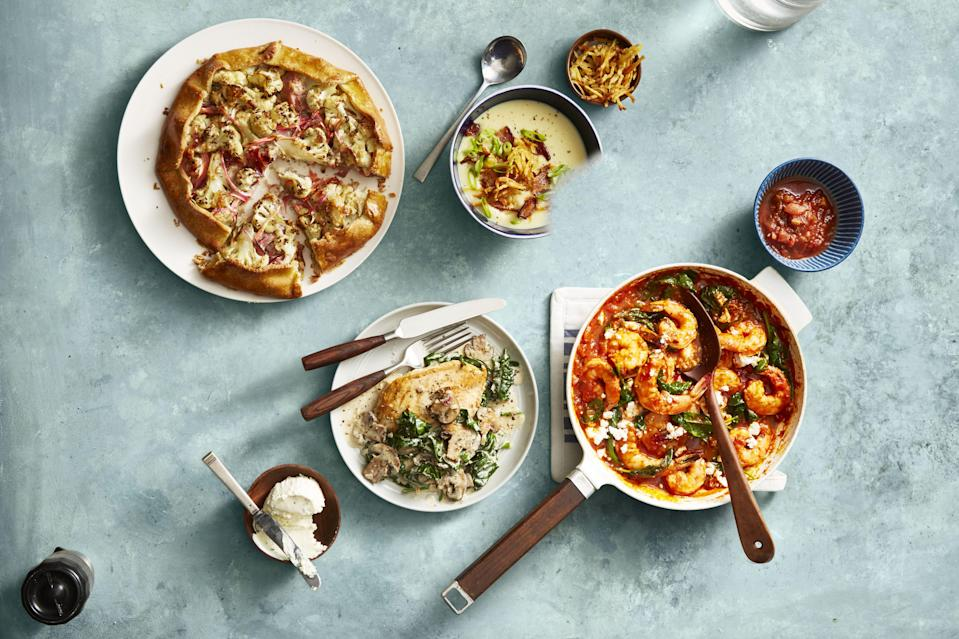 """<p>Coming up with exciting, delicious <a href=""""https://www.womansday.com/food-recipes/food-drinks/g1870/easy-chicken-dinner-recipes/"""" rel=""""nofollow noopener"""" target=""""_blank"""" data-ylk=""""slk:dinners for your family"""" class=""""link rapid-noclick-resp"""">dinners for your family </a>can feel overwhelming, especially if you're trying to eat a healthy, well-balanced meal. In fact, finding the time, effort, and energy to create <a href=""""https://www.womansday.com/food-recipes/cooking-tips/a50050/5-simple-ways-to-cook-healthy-meals-without-going-over-budget/"""" rel=""""nofollow noopener"""" target=""""_blank"""" data-ylk=""""slk:healthy meals"""" class=""""link rapid-noclick-resp"""">healthy meals</a> that your <a href=""""https://www.womansday.com/health-fitness/nutrition/a56204/healthy-foods-for-kids/"""" rel=""""nofollow noopener"""" target=""""_blank"""" data-ylk=""""slk:kids will actually eat"""" class=""""link rapid-noclick-resp"""">kids will actually eat</a> can feel downright impossible. But even the pickiest of eaters will love these <a href=""""https://www.womansday.com/food-recipes/food-drinks/g2176/hearty-healthy-recipes/"""" rel=""""nofollow noopener"""" target=""""_blank"""" data-ylk=""""slk:healthy dinners"""" class=""""link rapid-noclick-resp"""">healthy dinners</a>, so before you know it the following light, <a href=""""https://www.womansday.com/food-recipes/food-drinks/g3226/easy-dinner-recipes-for-kids/"""" rel=""""nofollow noopener"""" target=""""_blank"""" data-ylk=""""slk:easy recipes"""" class=""""link rapid-noclick-resp"""">easy recipes</a> will be part of dinner rotation with no complaints. </p><p>From different <a href=""""https://www.womansday.com/food-recipes/food-drinks/g24/10-pizza-recipes-pizzazz-62794/"""" rel=""""nofollow noopener"""" target=""""_blank"""" data-ylk=""""slk:types of pizzas"""" class=""""link rapid-noclick-resp"""">types of pizzas</a>, to tacos, to all of the kebobs they could possibly want, these recipes prove that <a href=""""https://www.womansday.com/food-recipes/g2559/gluten-free-dinner-recipes/"""" rel=""""nofollow noopener"""" target=""""_blank"""" data-ylk=""""slk:healthy dinners"""" class=""""lin"""