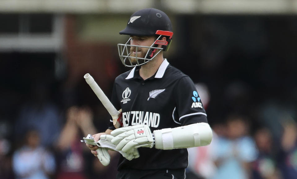 Kane Williamson departs for just 30 after being dismissed by Liam Plunkett (AP Photo/Aijaz Rahi)