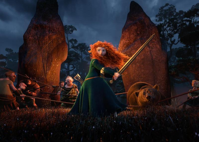 """In this undated publicity image released by Disney/Pixar, Princess Merida, (voice by Kelly Macdonald), is shown in the 3D computer animated Disney/Pixar film, """"Brave,"""" releasing June 22, 2012 in North America. Pixar's first female protagonist, Princess Merida, is determined to forge her own future. This new breed of big-screen damsel not only reflects the independence _ and athleticism _ of young women today, but also Hollywood's increasing willingness to tell their stories. (AP Photo/Disney/Pixar)"""