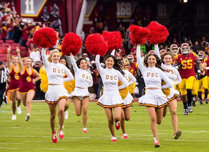 USC Song Girls lead the charge as USC plays Oregon in 2019.