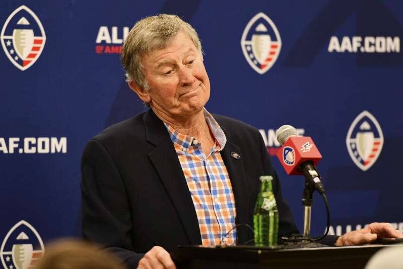 ORLANDO, FL - FEBRUARY 23: Head coach Steve Spurrier of Orlando Apollos responds to questions during the press conference after 33-17 win over the Memphis Express of an Alliance of American Football game on February 23, 2019 at Spectrum Stadium in Orlando, Florida. (Photo by Julio Aguilar/AAF/Getty Images)