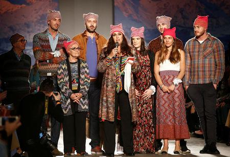 Italian designer Angela Missoni speaks at the end of her Autumn Winter 2017  women s collection 70fe81f54748