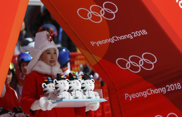 Alpine Skiing - Pyeongchang 2018 Winter Olympics - Team Event - Yongpyong Alpine Centre - Pyeongchang, South Korea - February 24, 2018 - Mascots are pictured before the victory ceremony. REUTERS/Leonhard Foeger
