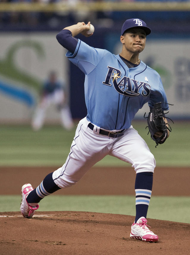 Tampa Bay Rays starter Chris Archer pitches against the Cleveland Indians during the first inning of a baseball game on Sunday, May 11, 2014, in St. Petersburg, Fla. (AP Photo/Steve Nesius)