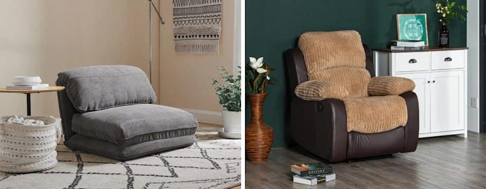 cushioned chair in home and tan pleather chair on green background