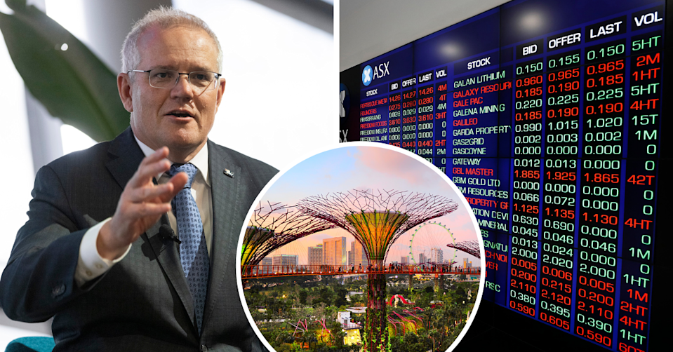 Scott Morrison speaks at an event in Perth, iconic sky trees in Singapore by the Bay and the ASX board
