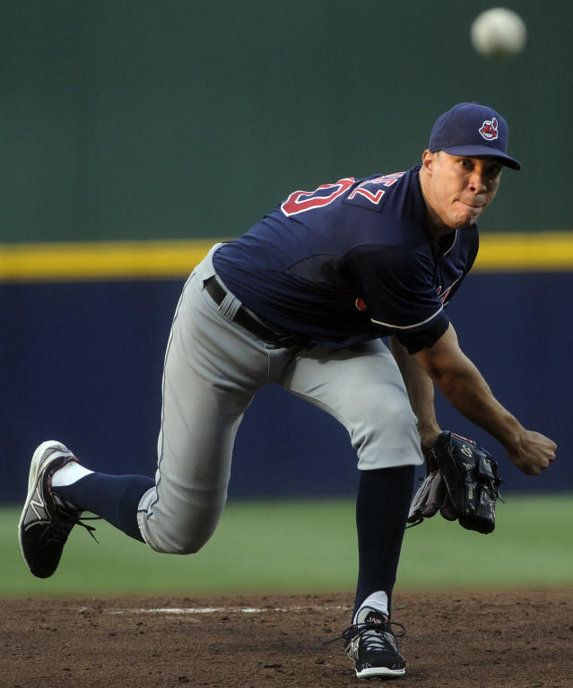 Cleveland Indians' Ubaldo Jimenez pitches against the Atlanta Braves during the first inning of a baseball game on Thursday, Aug. 29, 2013, in Atlanta. (AP Photo/John Amis)