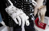 A glove belonging to music recording artist Janet Jackson is on display during an auction preview at Julien's Auctions in Beverly Hills