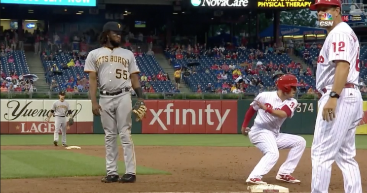 Josh Bell wasn't paying close enough attention on this one. (MLB.tv)