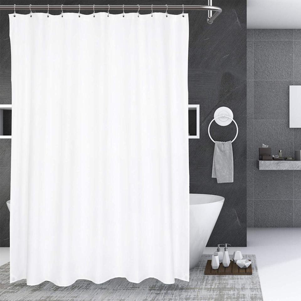 "<p>When it comes to style, practicality, and price, this shower curtain from N&Y Home leads the pack. It's made of luxe cloth material that's treated with a TPU coating for water-resistance and durability. At just $13, the machine-washable, PVC-free curtain is a steal. You can choose from just about any size to perfectly fit your specific space, and it comes in a few basic colors, like white, navy blue, and charcoal gray. More than <a href=""https://www.amazon.com/product-reviews/B07R63L7RQ/ref=as_li_ss_tl?ie=UTF8&linkCode=ll2&tag=rsbestshowercurtainsccalucchia0220-20&linkId=748b397ab0d86e215c1ff994ad1bece0&language=en_US"">3,500 Amazon shoppers give it five stars</a> and note that it dries quickly, feels high-quality, hangs just right.</p> <p><strong>To buy:</strong> $13; <a href=""https://www.amazon.com/HOME-Fabric-Shower-Curtain-Liner/dp/B07R63L7RQ/ref=as_li_ss_tl?ie=UTF8&linkCode=ll1&tag=rsbestshowercurtainsccalucchia0220-20&linkId=c4b499fe9b8d8a828f6ae7e094623fde&language=en_US"">amazon.com</a>.</p>"
