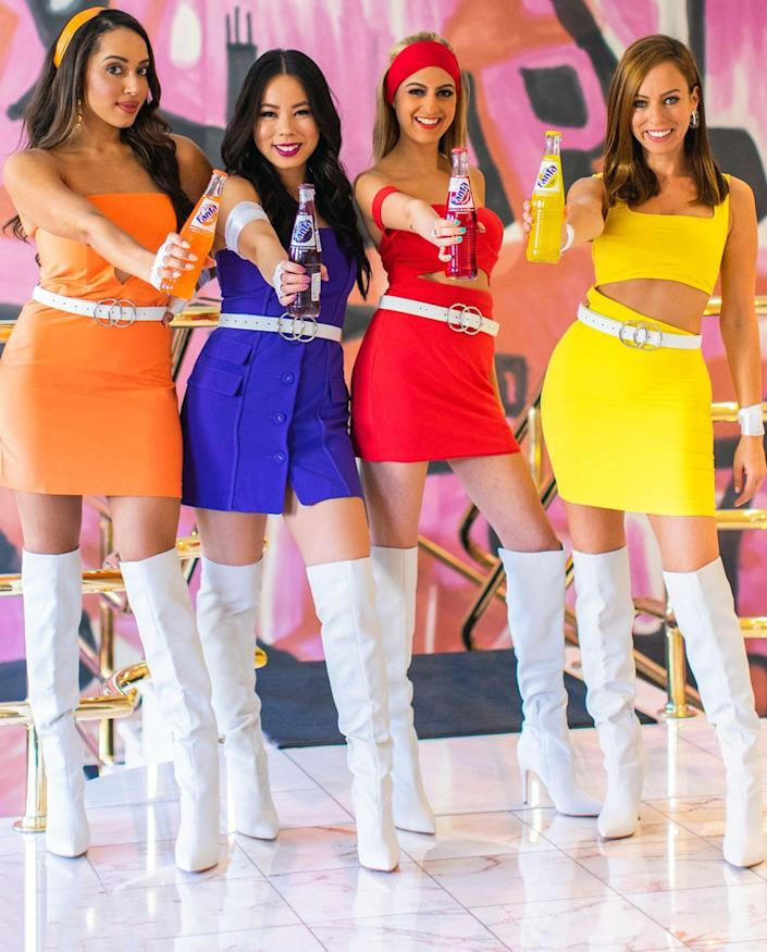 """<p>Sweet as soda pop, but with a bit of spice, too, these effervescent outfits are sure to turn heads wherever you and the girls go.</p><p><strong>Get the tutorial at <a href=""""https://www.sydnestyle.com/2018/10/group-halloween-costume-fanta-girls/"""" rel=""""nofollow noopener"""" target=""""_blank"""" data-ylk=""""slk:Sydne Style"""" class=""""link rapid-noclick-resp"""">Sydne Style</a>.</strong></p><p><a class=""""link rapid-noclick-resp"""" href=""""https://www.amazon.com/gp/product/B06Y5YPXQF/ref=oh_aui_detailpage_o00_s00?tag=syn-yahoo-20&ascsubtag=%5Bartid%7C10050.g.32906192%5Bsrc%7Cyahoo-us"""" rel=""""nofollow noopener"""" target=""""_blank"""" data-ylk=""""slk:SHOP WHITE RIBBON"""">SHOP WHITE RIBBON</a><br></p>"""