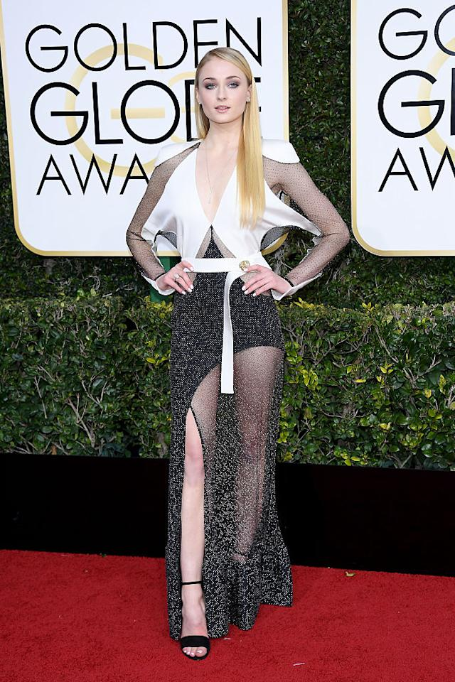 <p>There were only a few opaque patches that covered Sophie Turner up. (Photo: Getty Images) </p>