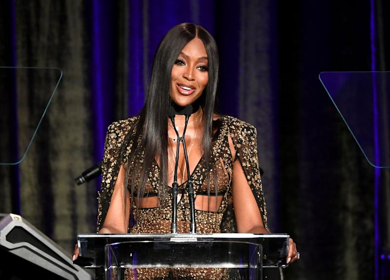 BEVERLY HILLS, CALIFORNIA - MAY 19: Naomi Campbell speaks onstage at the American Icon Awards at the Beverly Wilshire Four Seasons Hotel on May 19, 2019 in Beverly Hills, California. (Photo by Kevin Winter/Getty Images)