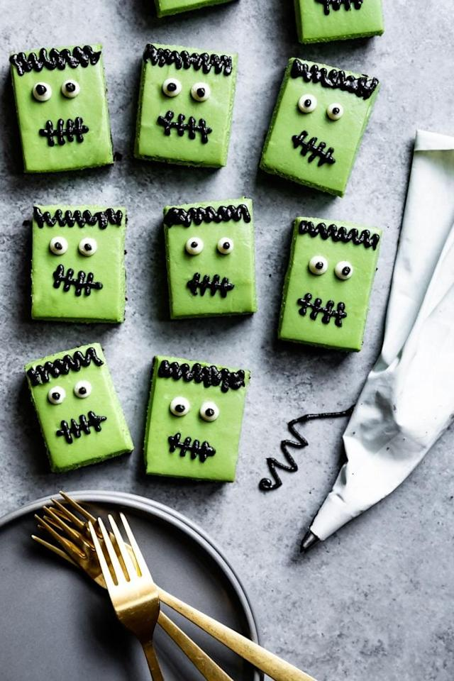 """<p>Using only natural food coloring from matcha and black sesame, these cheesecakes are a delicious treat and fun activity to get in to the spooky spirit.</p> <p><strong>Get the recipe:</strong> <a href=""""http://www.snixykitchen.com/gluten-free-matcha-cheesecake-frankensteins/"""" target=""""_blank"""" class=""""ga-track"""" data-ga-category=""""Related"""" data-ga-label=""""http://www.snixykitchen.com/gluten-free-matcha-cheesecake-frankensteins/"""" data-ga-action=""""In-Line Links"""">gluten-free matcha cheesecake Frankensteins</a></p>"""