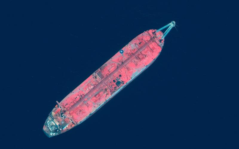 This satellite image shows the FSO Safer tanker moored off Ras Issa port, in Yemen. Houthi rebels are blocking the United Nations from inspecting the abandoned oil tanker loaded with more than one million barrels of crude oil. - Maxar Technologies