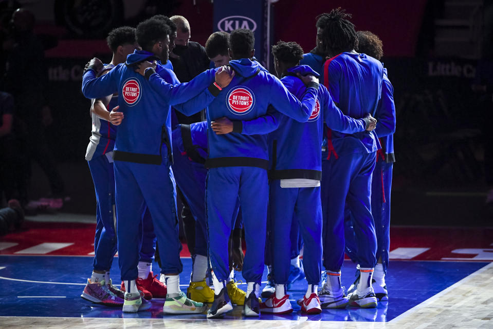 The Detroit Pistons huddle before the first quarter of the NBA game against the Orlando Magic at Little Caesars Arena on May 03, 2021 in Detroit, Michigan. NOTE TO USER: User expressly acknowledges and agrees that, by downloading and or using this photograph, User is consenting to the terms and conditions of the Getty Images License Agreement. (Photo by Nic Antaya/Getty Images)