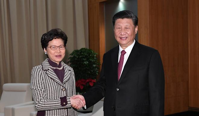 Carrie Lam and Xi Jinping during their meeting in Macau last month. Photo: Reuters