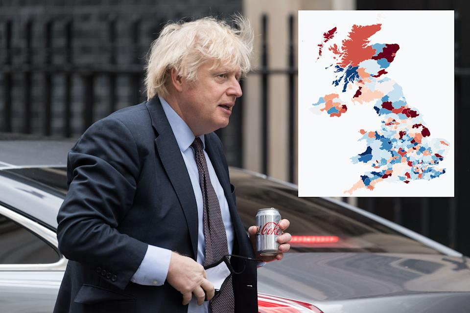 Boris Johnson in Downing Street on Tuesday, as data showed COVID cases are rising in one in three areas of the UK. (Getty Images)