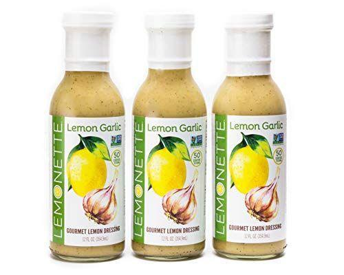"""<p><strong>LEMONETTE</strong></p><p>amazon.com</p><p><strong>$27.24</strong></p><p><a href=""""https://www.amazon.com/dp/B07HMKC48V?tag=syn-yahoo-20&ascsubtag=%5Bartid%7C2140.g.26932031%5Bsrc%7Cyahoo-us"""" rel=""""nofollow noopener"""" target=""""_blank"""" data-ylk=""""slk:Shop Now"""" class=""""link rapid-noclick-resp"""">Shop Now</a></p><p>We can't stop, won't stop with the lemon garlic flavors. This bright, punchy dressing is what you need to make your next salad sing. The ingredients are simple, including lemon juice concentrate, safflower oil, and spices. It's perfect for drizzling atop grilled veggies like asparagus.</p><p><em>Per 2 tbsp serving: 50 calories, 5 g fat (.5g saturated), 1g carbs, 0g sugar, 180 mg sodium, 0g fiber, 0g protein </em> </p>"""