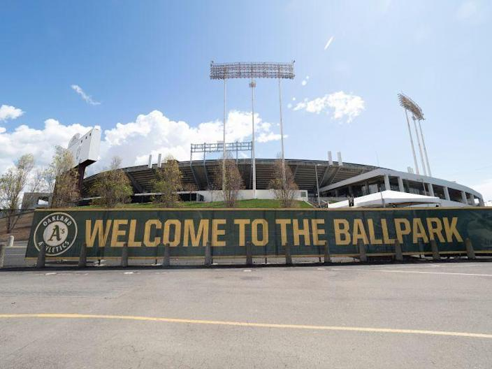 A welcome banner at the Oakland Coliseum where the MLB Oakland Athletics play