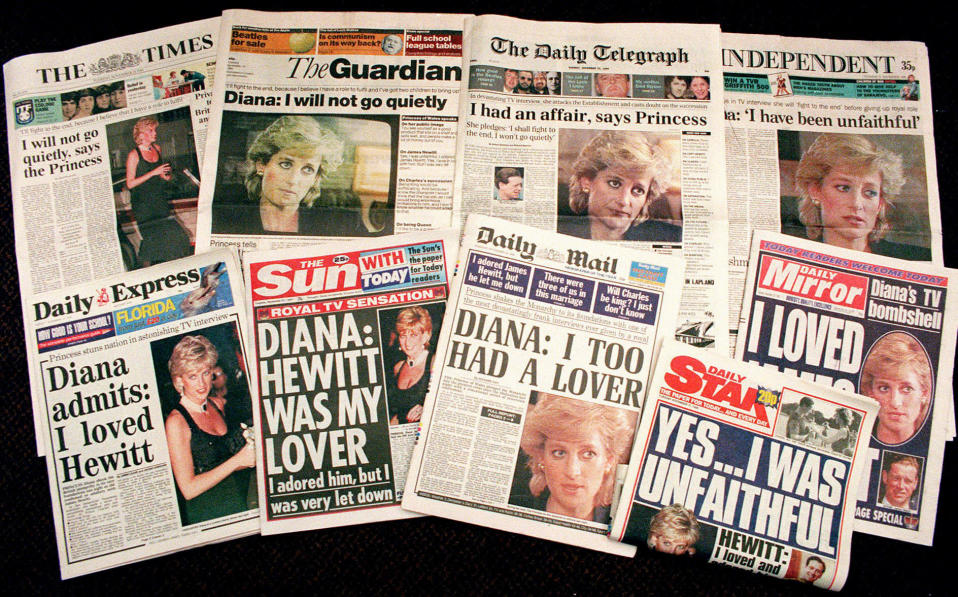 """FILE - In this Nov. 21, 1995 file photo a selection of front pages of most of Britains's national newspapers showing their reaction to Princess Diana's television interview with BBC journalist Martin Bashir. Prince William and his brother Prince Harry have issued strongly-worded statements criticizing the BBC and British media for unethical practices after an investigation found that Bashir used """"deceitful behavior"""" to secure Princess Diana's most explosive TV interview in 1995. (AP Photo/Martin Cleaver, File)"""