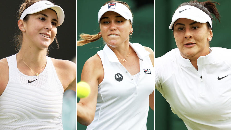Belinda Bencic, Sofia Kenin and Bianca Andreescu, pictured here in action at Wimbledon.