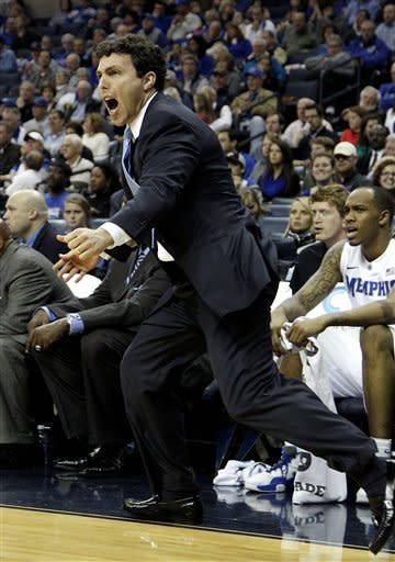 Memphis head coach Josh Pastner reacts to a call in the first half of an NCAA college basketball game against North Florida on Monday, Nov. 12, 2012, in Memphis, Tenn. Memphis won 81-66. (AP Photo/Lance Murphey)