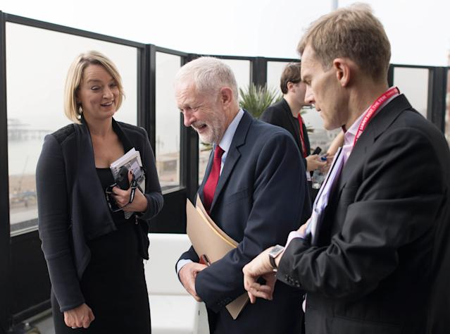 Ms Kuenssberg, pictured interviewing Jeremy Corbyn in 2017, has said online trolls have tried to silence her. (PA Images)