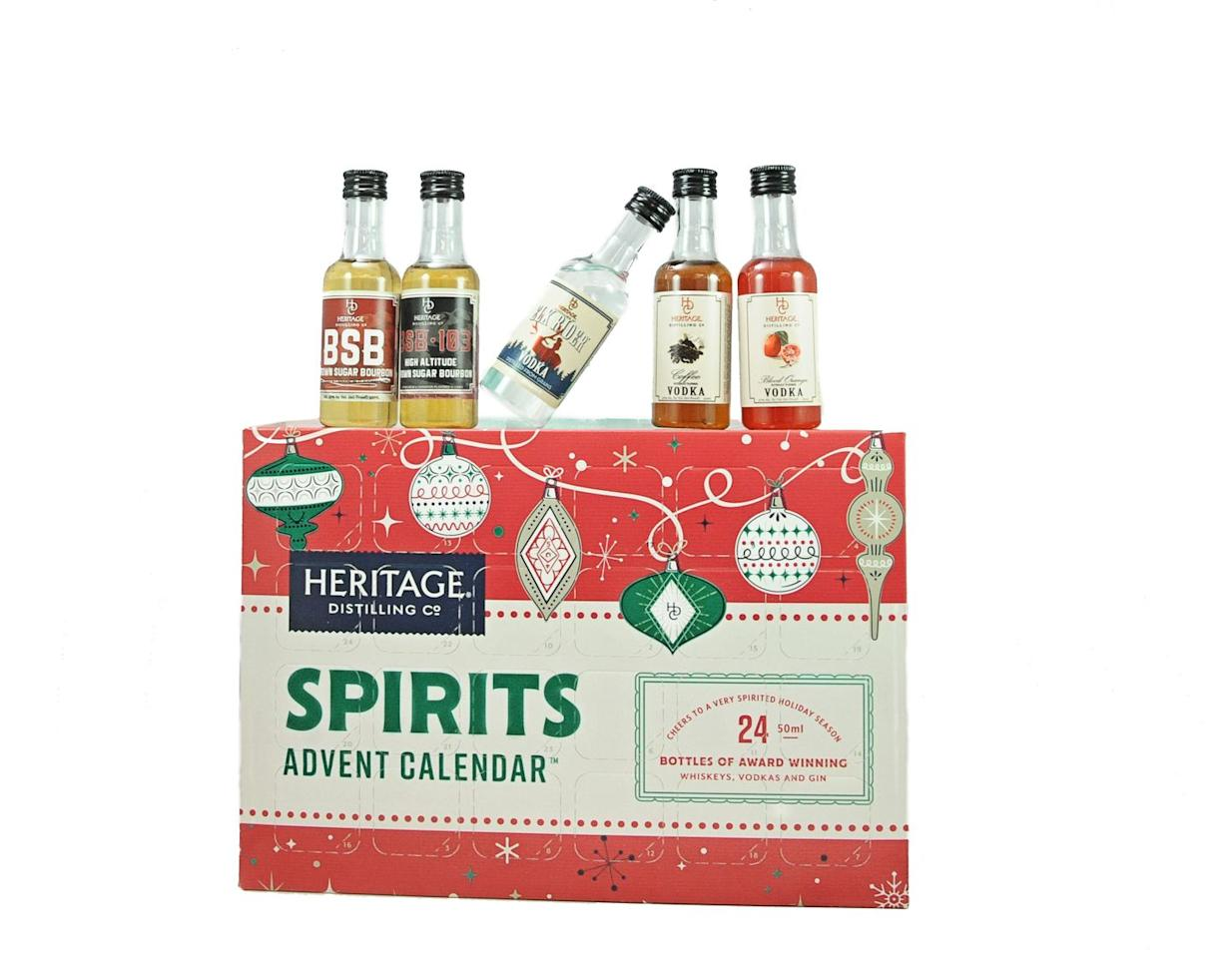 """<p><a rel=""""nofollow"""" href=""""https://heritagedistilling.com/products/spiritsadventcalendar"""">SHOP NOW </a> $59</p><p><strong>Best for:</strong> Your friend who still doesn't have a signature drink order.</p><p><strong>What's inside: </strong>A festive mix of 24 mini bottles of vodka, gin, and bourbon by Heritage Distilling Co.</p>"""