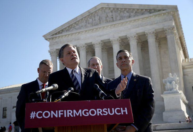Sen. Steve Daines, R-Mont., flanked by other Republicans, speaks in support of Judge Neil Gorsuch's nomination to the Supreme Court. (Photo: Win McNamee/Getty Images)