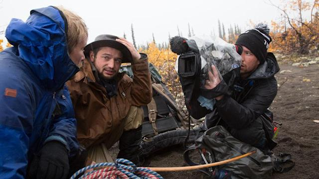 Alaska: Tyler Johnson and Austin Manelick being filmed on a leg of the journey.