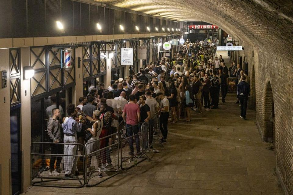 Club-goers queue to get in to Heaven nightclub. (Rob Pinney/Getty Images)